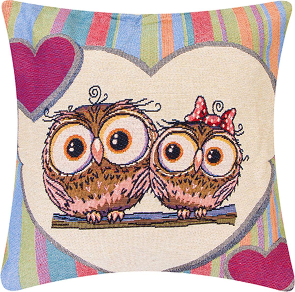 Подушка декоративная EL Casa Влюбленные совы с сердцами, 43 x 43 см171699Декоративная подушка прекрасно дополнит интерьер спальни или гостиной. Состав наволочки: лен -50%, полиэстер-50%. Она легко снимается, благодаря молнии. Внутри подушки находится мягкий наполнитель.