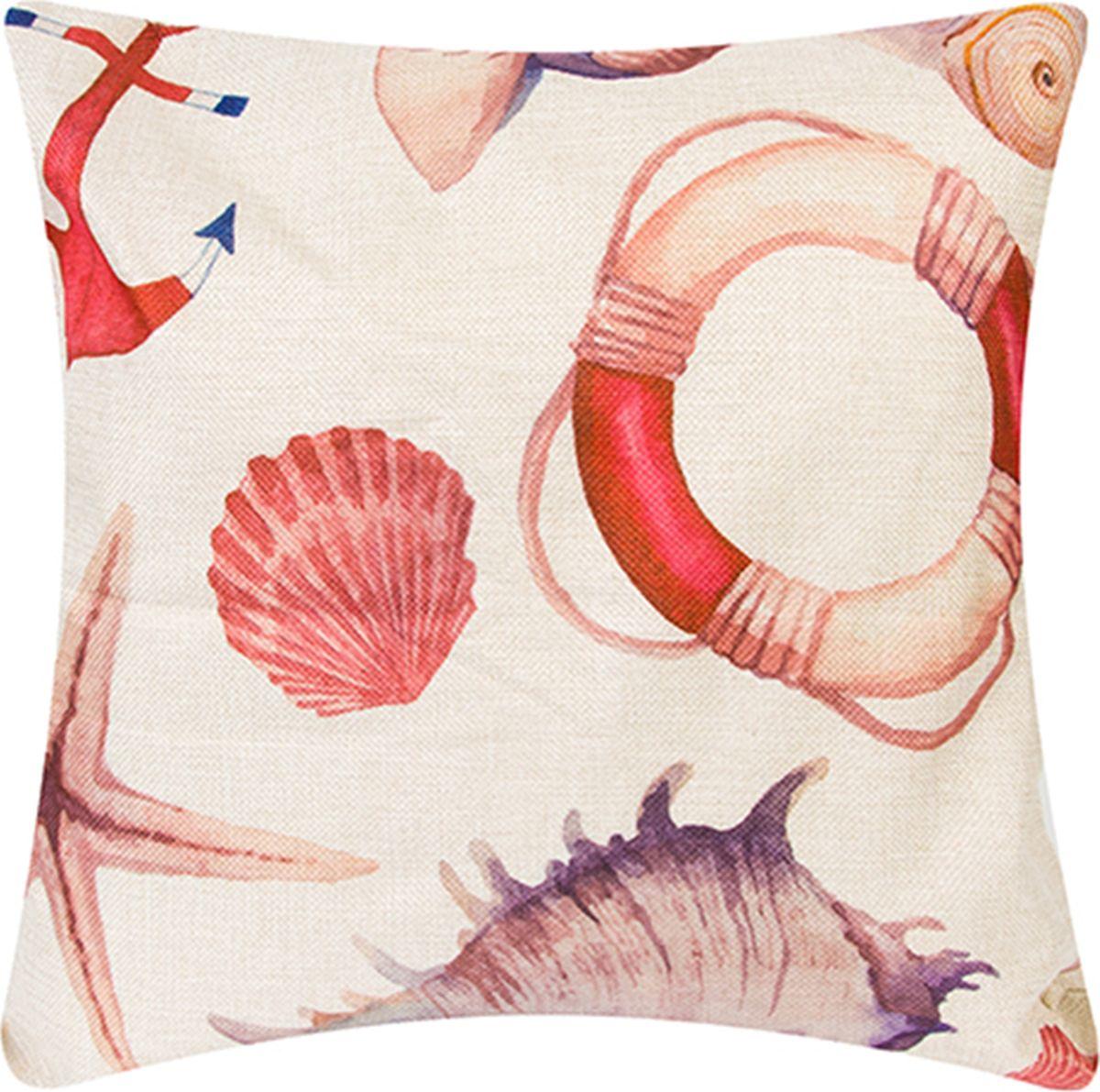 Подушка декоративная EL Casa Круиз, 43 x 43 см171702Декоративная подушка прекрасно дополнит интерьер спальни или гостиной. Состав наволочки: лен -50%, полиэстер-50%. Она легко снимается, благодаря молнии. Внутри подушки находится мягкий наполнитель.