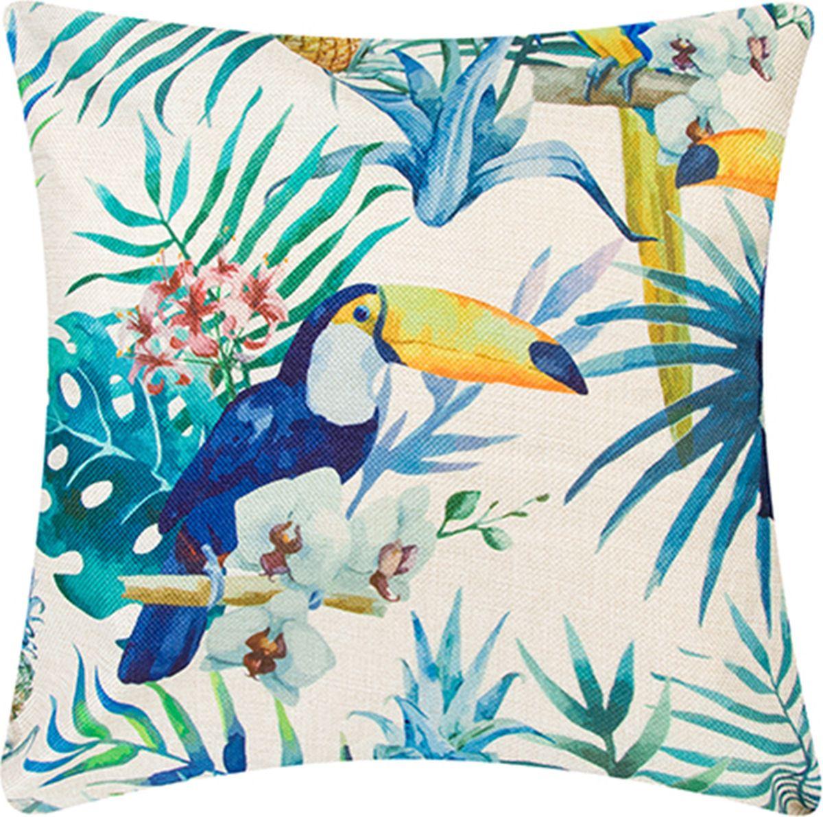 Подушка декоративная EL Casa Туканы в тропиках, 43 x 43 см171704Декоративная подушка прекрасно дополнит интерьер спальни или гостиной. Состав наволочки: лен -50%, полиэстер-50%. Она легко снимается, благодаря молнии. Внутри подушки находится мягкий наполнитель.