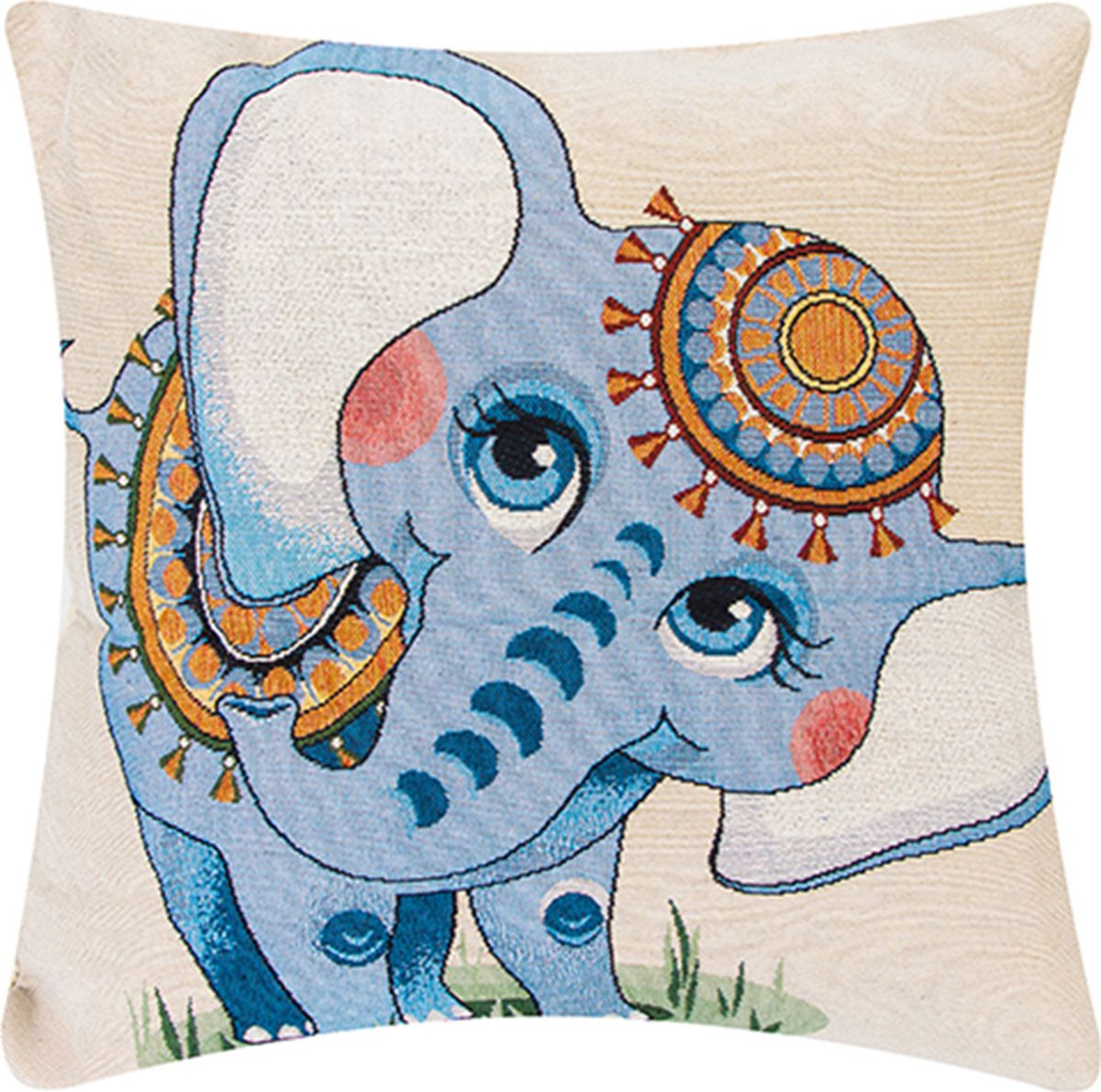 Подушка декоративная EL Casa Индийский слоненок, 43 x 43 см171710Декоративная подушка прекрасно дополнит интерьер спальни или гостиной. Состав наволочки: лен -50%, полиэстер-50%. Она легко снимается, благодаря молнии. Внутри подушки находится мягкий наполнитель.