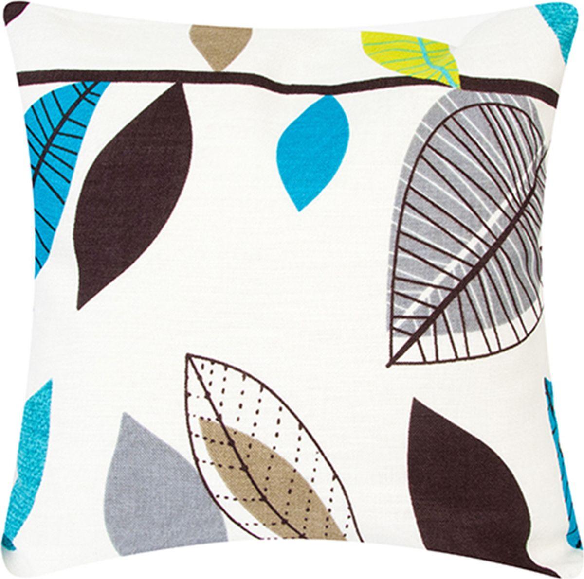 Подушка декоративная EL Casa Графичные листья, цвет: голубой, 43 x 43 см. 171719171719Декоративная подушка Графичные листья прекрасно дополнит интерьер спальни или гостиной. Она легко снимается, благодаря молнии. Внутри подушки находится мягкий наполнитель.Состав наволочки: лен.