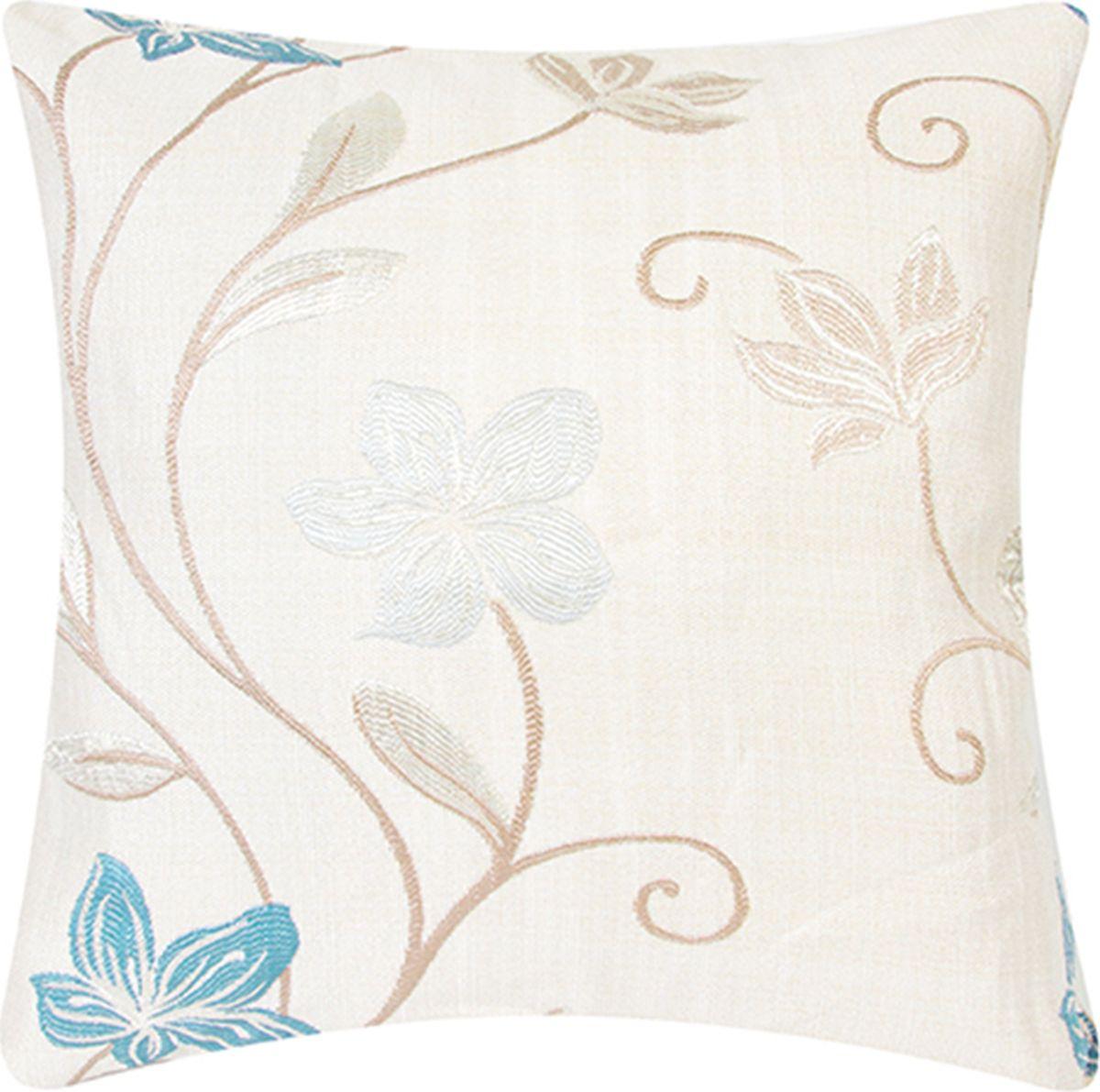 Подушка декоративная EL Casa Вьюнки, цвет: голубой, бирюзовый, 43 x 43 см. 171725171725Декоративная подушка прекрасно дополнит интерьер спальни или гостиной. Состав наволочки: искусственный шелк. Она легко снимается, благодаря молнии. Внутри подушки находится мягкий наполнитель.