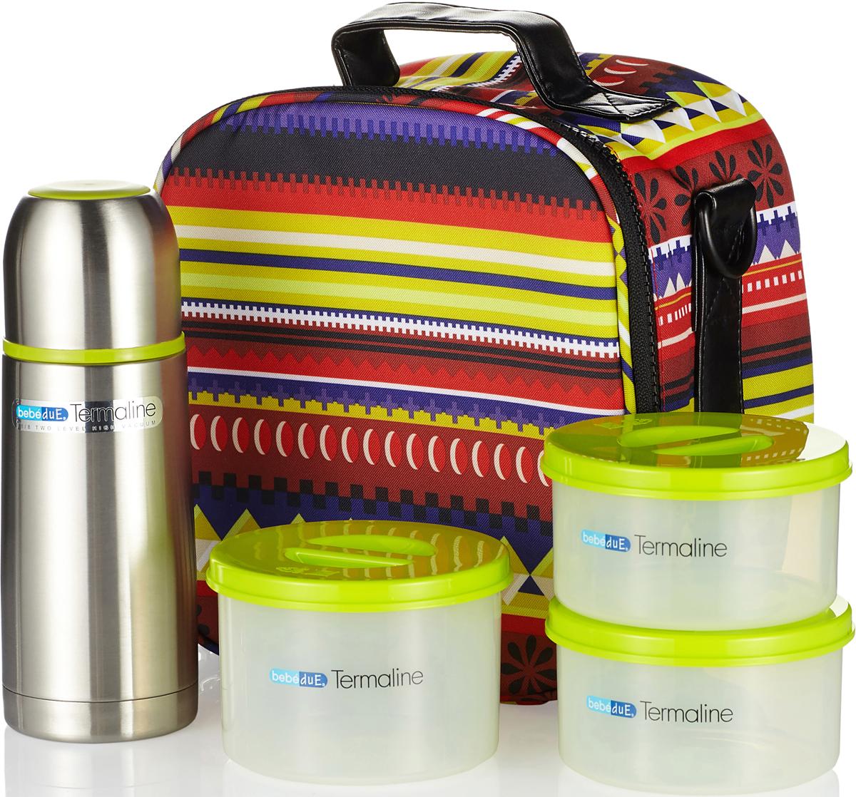 Bebe Due Термосумка цветная с набором контейнеров и термосом20108Идеальная термосумка, которая может пригодится на прогулке, в путешествии. При посещении роддомов и больниц. Завтрак, обед или ужин с тобой в любом месте. Выполнена в двух расцветках. В комплект входит термосумка, термос, контейнеры.Термосумка Bebe Due помогает поддерживать температурный режим от 3 до 5 часов, в зависимости от закладки еды и напитка, а также учитывая внешнюю температуру среды.Термос 300 мл с клапаном для раздачи жидкости. Термос выполнен из высококачественной нержавеющей стали, не содержит вредных веществ. Поддерживает температуру напитка до 12 часов, в зависимости от температуры заливки. Может сохранять как горячую, так и холодную температуру напитка. Встроен съемный клапан для раздачи жидкости, который служит системой не проливания, на случай если термос опрокинется в открытом состоянии. Ударопрочный, герметичный, удобная форма, крышка используется как стакан.Контейнеры для хранения еды, которые можно греть в СВЧ.Данный набор поможет сэкономить время и деньги во многих ситуациях. Объем термоса: 300 мл. Объем контейнеров: 300 мл - 2шт, 400 мл - 1 шт.