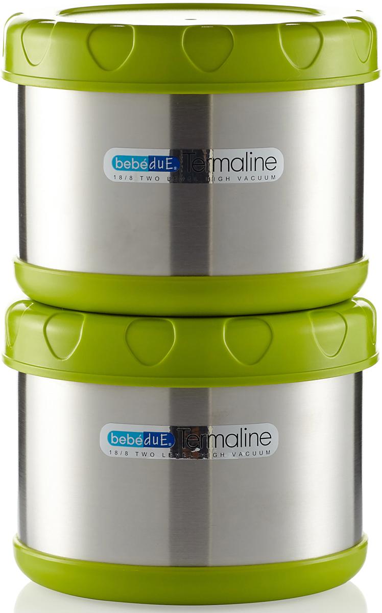 Набор термосов-контейнеров для транспортировки еды. Набор состоит из двух термоконтейнеров и сумки чехла. Термосы выполнены из высококачественной нержавеющей стали, не содержат вредных веществ, поддерживают температуру пищи до 8 часов, в зависимости от температуры закладки. Могут сохранять температуру, как горячую, так и наоборот холодную. Подходят как для твердой, так и для жидкой пищи, жидкостей. Ударопрочные, гермитичные, удобные по форме, широкое горлышко. Можно транспортировать две порции, либо два разных блюда. Незаменимый помощник на длительных прогулках, путешествиях, тренировках, при посещении роддомов и больниц. Можно мыть в посудомоечной машинеBebe Due Набор термосов-контейнеров для транспортировки пищи 500 мл 2 шт. в упак