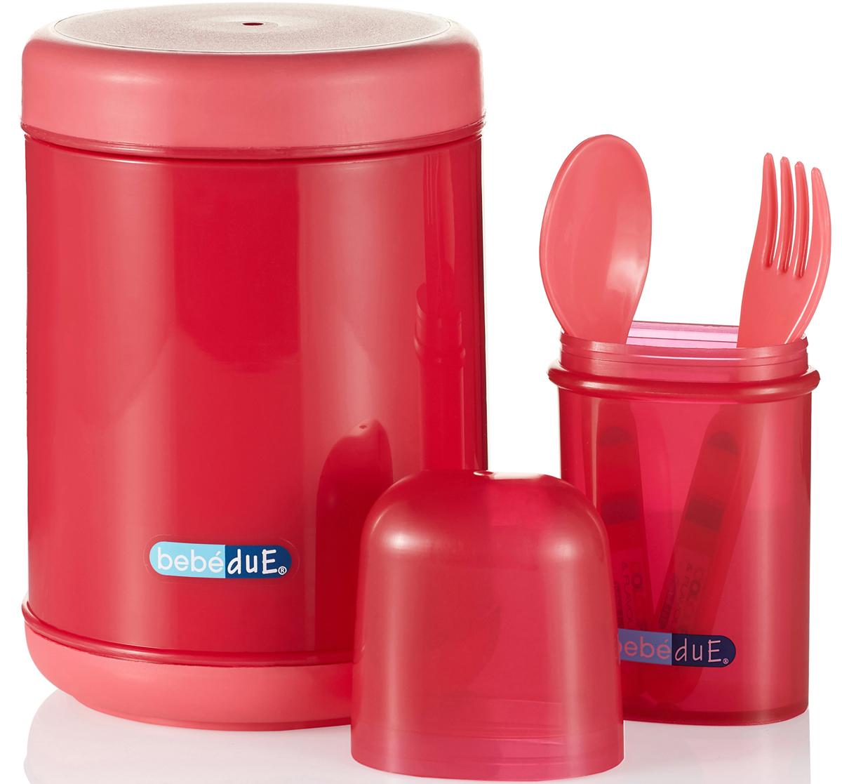 Bebe Due Набор для кормления 500 мл цвет розовый красный