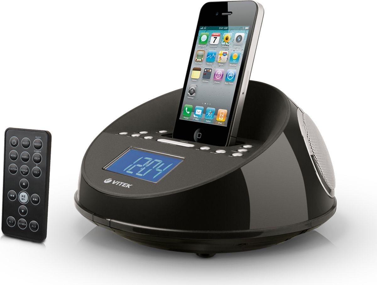 Vitek VT-3520 (ВК), Black радиочасыVT-3520(ВК)Если вы являетесь обладателем iPhone, iPod nano, iPod touch, то радиочасы VT-3520 BK станут для вас прекраснымвыбором. Они могут служить станцией для подзарядки iPhone, при этом исполнять свои основные функции –показывать время и воспроизводить разные радиостанции в диапазоне FM. Вы можете установить будильник, приэтом будить вас будет либо обычный зуммер, либо радио или мелодия с iPhone. ЖК-дисплей в 0,9 дюймовпривлечет своей гармоничностью. На синем фоне прекрасно видны белые символы. По желанию вы можетеотрегулировать яркость дисплея. Эргономичные кнопки управления позволят вам быстро настроить радиочасы инаслаждаться их использованием.Совместим с iPhone, iPod touch, iPod nano, iPod classic, iPod (4/5th generation), iPod mini. Зарядка с iPod / iPhone.Синхронизация времени с iPod / iPhone