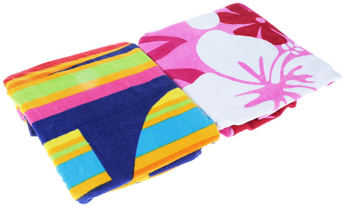 Набор пляжных полотенец  Bonita , цвет: синий, белый, розовый, салатовый, 75 х 150 см, 2 шт -  Полотенца