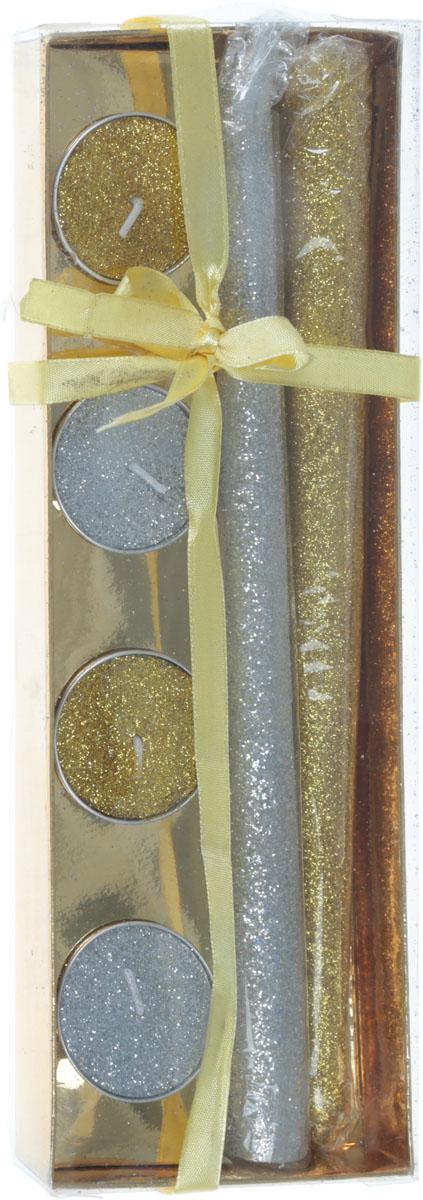 B&H Подарочный набор глиттерных свечей, 6 предметовBH1203В комплект входит: 2 длинные свечи + 4 чайные свечи. Размер упаковки: 25,5х9х2,5 см. Высота длинной свечи: 25 см, диаметр чайной свечи: 3,8 см.