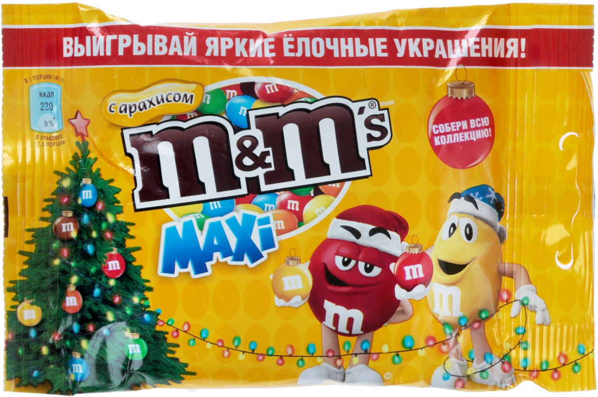 M&M's драже с арахисом, 70 г nestle гречневая с курагой каша молочная 220 г