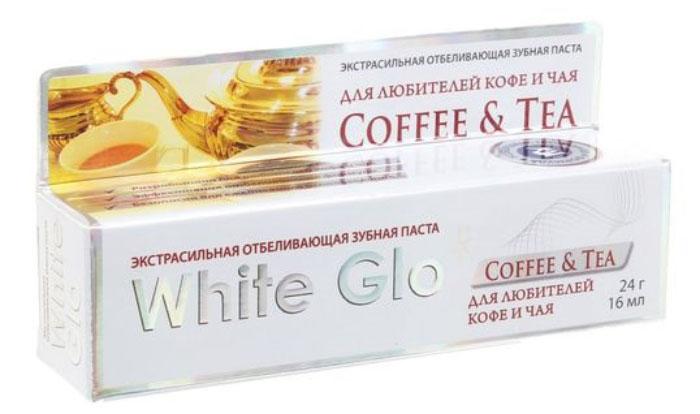 White Glo Зубная паста, отбеливающая для любителей кофе и чая, 24 г86827Специальная формула отбеливания борется с потемнением зубной эмали, возникающим в результате потребления кофе или чая. Защищает зубную эмаль от возникновения новых пятен, благодаря специальным микровосковым частицам. Содержит богатое витаминами А, С и Е масло семян шиповника, которое повышает защитные свойства слизистой оболочки полости рта.Уважаемые клиенты! Обращаем ваше внимание на то, что упаковка может иметь несколько видов дизайна. Поставка осуществляется в зависимости от наличия на складе.