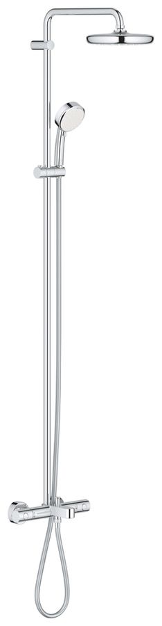 Cистема душевая Grohe Tempesta Cosmopolitan, с термостатом. 2622300126223001Cистема душевая Grohe включает в себя:горизонтальный поворотный душевой кронштейн 390 ммтермостат Grohtherm 1000 Cosmopolitan с Aqua dimmerвыбор между:head shower Tempesta 210 (26 408)душевая струя Rainс шаровым шарниромугол поворота ± 15°излив для ванныотдельный переключатель на ручной душручной душ New Tempesta Cosmopolitan 100 (27 571 001)2 вида струй:Rain, Jetрегулируется по высоте с помощью скользящего элементадушевой шланг, 1.750 мм 1/2 x 1/2 (28 410)GROHE TurboStat встроенный термоэлементGROHE SafeStop стопор безопасности при 38°CGROHE SafeStop Plus optional temperature limiter at 43°C includedGROHE DreamSpray превосходный поток водыGROHE StarLight хромированная поверхностьс системой SpeedClean против известковых отложенийВнутренний охлаждающий канал для продолжительного срока службыTwistfree против перекручивания шлангасовместим с проточным водонагревателем от 18 kВ/чминимальный расход воды 7л/мин