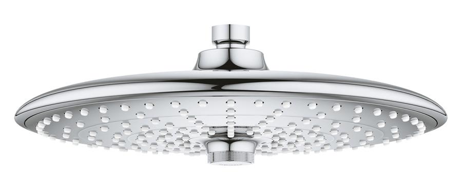 Душ верхний Grohe Euphoria. 2645500026455000Душ верхний Grohe Euphoria включает в себя:Rain, SmartRain, JetO 260 mmшаровый шарнир +/- 15° вращающийсярезьбовое соединение 1/2GROHE DreamSpray превосходный поток водыGROHE StarLight хромированная поверхностьс системой SpeedClean против известковых отложенийВнутренний охлаждающий канал для продолжительного срока службыможет использоваться с проточным водонагревателемминимальное давление 1,0 бар