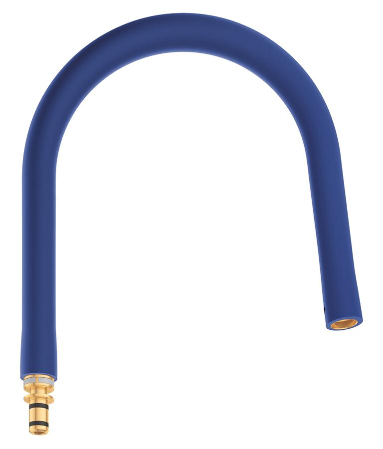 Шланг гибкий Grohe GrohFlexx, для профессиональных смесителей Grohe Essence, цвет: синий30321TY0Гибкий силиконовый шланг с пружиной для смесителя Grohe GrohFlexxпредназначен для мойки Essence.В комплекте крепежный набор.
