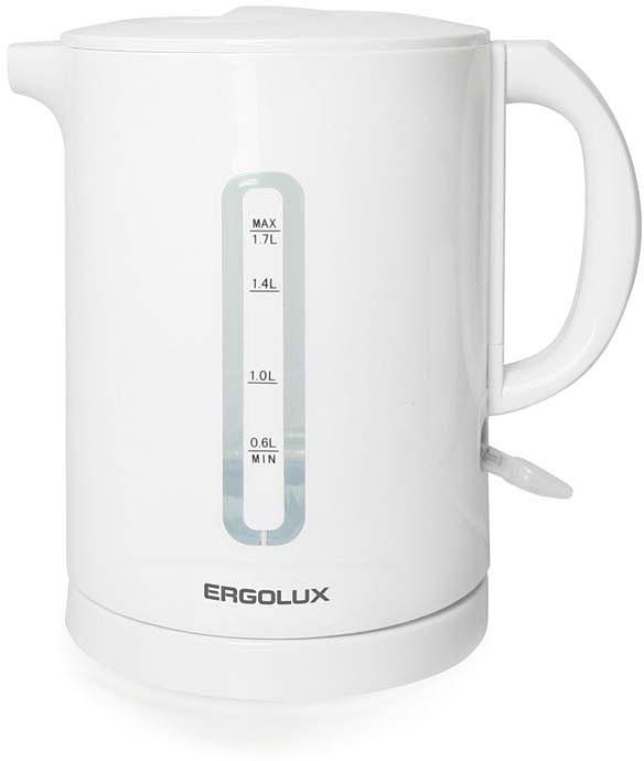 Ergolux ELX-KH01-C01 чайник электрический13114Чайник электрический пластиковый с открытым нагревательным элементом. Автоматическое отключение при закипании и отсутствии жидкости. Индикация при включении.