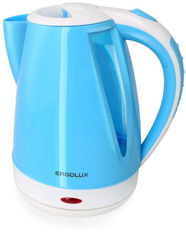Ergolux ELX-KP02-C35 чайник электрический13118Чайник электрический пластиковый со скрытым нагревательным элементом. Индикация включения. Медный кабель. Автоматическое отключение при закипании и отсутствии жидкости. Крышка с фиксатором и кнопкой для открывания. Поворачивающийся на 360° корпус.