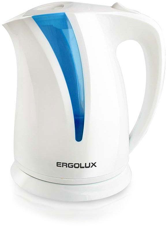 Ergolux ELX-KP03-C35 чайник электрический13115Чайник электрический пластиковый со скрытым нагревательным элементом. С LED подсветкой. Медный кабель. Автоматическое отключение при закипании и отсутствии жидкости. Крышка с фиксатором и кнопкой для открывания. Поворачивающийся на 360° корпус.
