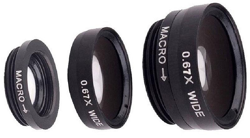 Fidget Go Макро, Black объектив для смартфона6900000000117Объектив прищепка на любой телефон 3 в 1 комплект из трех линз Wide (Широкоугольная) + Macro (Макро) + Fish Eye (Рыбий глаз 180 градусов) На Ваш телефон, планшет или плеер линзы одеваются с помощью прищепки. Крепить можно как на переднюю, так и на заднюю камеру.Высокое качество съемки достигается за счет высококачественных линз. Ударопрочные, корпус сделан из прочного пластика. Линзы подходят для: IPhone 4/4s/5/5c/5s/6, IPad, IPod, Samsung, HTC, LG, Fly, Nokia и для многих других телефонов, плееров и планшетов, которые имеют толщину не более 13 мм.Линза Fisheye позволяет делать снимки с углом обзора 180°. создает эффект глазка Macro линза увеличивает настолько сильно, что можно рассматривать объект до мельчайших деталей. Это самая используемая линза в этом комплекте. С помощью линзы Wide Angle (Широкоугольная) очень удобно снимать широкие объекты. Больше деталей попадут на снимок Линзы можно одеть или Макро линзу или Макро + Широкая, отдельно широкая не крепится Линзы создают особый эффект сьемки и украсят любое фото Instagramm.Материал - пластик, алюминий и оптическое стекло