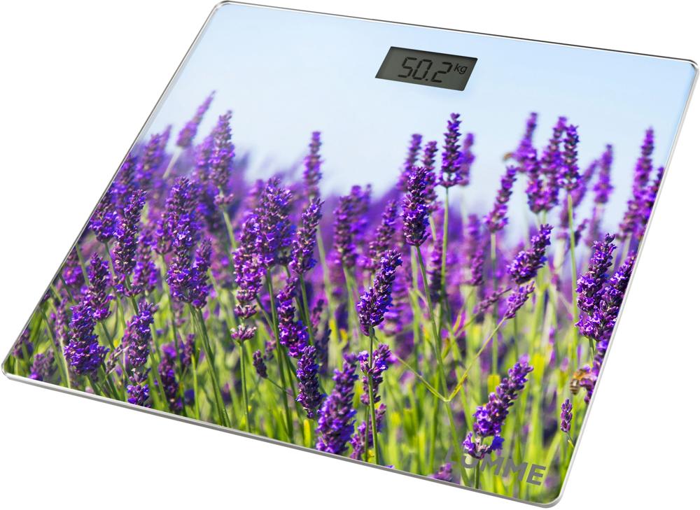 Lumme LU-1329, Lavender весы напольныеLU-1329Электронные напольные весы Lumme LU-1329 с платформой из прочного полированного стекла и жидкокристаллическим дисплеем с легко читаемыми цифрами.Весы обеспечивают взвешивание до 180 килограммов с точностью до 100 граммов и способны работать в различных единицах измерения.Цифровой дисплей, индикаторы перегрузки и замены батареи, включение от прикосновения, а также функция автоматического обнуления и отключения подарят наибольший комфорт при использовании весов и надолго сохранят заряд батарейки.Весы LU-1329 - это красиво оформленный надежный и точный прибор. Он обязательно подарит вам удовольствие от использования и отличное настроение!