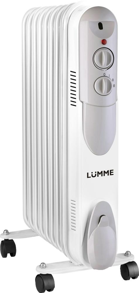 Lumme LU-622, White обогреватель масляныйLU-6229-секционный масляный радиатор Lumme LU-622 с регулируемым термостатом – надежное устройство для обогрева помещения и поддержания в нем заданной температуры.Три режима мощности 800/1200/2000 ватт позволят подобрать оптимальный режим работы радиатора для достижения требуемой температуры помещения с минимальными затратами электроэнергии.С помощью встроенной ручки и колес радиатор легко перемещается по помещению, а система удобного сматывания сетевого шнура гарантирует невозможность его повреждения при транспортировке и хранении радиатора.Масляный радиатор не производит шума, а также имеет защиту от перегрева, благодаря которой нет необходимости постоянно следить за его работой.