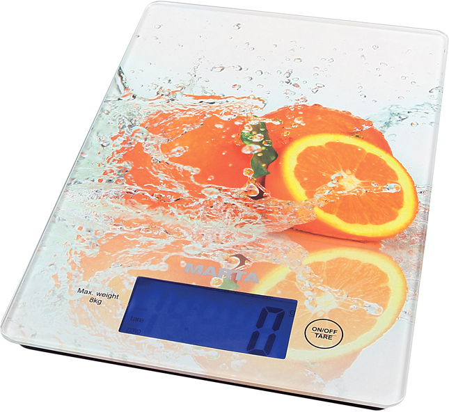 Marta MT-1633 Цитрусовый микс весы кухонныеMT-1633Яркие кухонные весы Marta MT-1633 с красивой и прочной поверхностью из закаленного стекла, функцией ТАРА и жидкокристаллическим дисплеем с подсветкой. Они обеспечивают надежное взвешивание продуктов массой до 8 килограммов с точностью до 1 грамма и способны работать в различных единицах измерения.Благодаря дисплею с подсветкой показания весов будут легко читаемы даже при слабом освещении.Функция ТАРА позволяет не учитывать массу посуды при взвешивании продуктов, а индикаторы перегрузки и замены батареи сделают работу весов бесперебойной в течение длительного времени.Для экономии заряда батарей весы отключаются автоматически, если не используются.,br>Кухонные весы - отличный помощник для тех, кто любит готовить по рецептам.