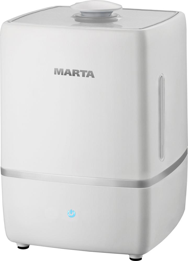 Marta MT-2659, White Pearl увлажнитель воздухаMT-2659Увлажнитель воздуха MT-2659 бесшумно нормализует уровень влажности в помещении до идеального. Вы почувствуете разницу очень скоро, ведь от уровня влажности зависит и степень вашей работоспособности, и качество отдыха. Три режима интенсивности увлажнения позволяет создавать необходимый именно вам микроклимат, как дома, так и в офисе. MT-2659 оснащен вместительным пятилитровым резервуаром. При расходе воды всего 250 мл/ч, такой объем позволяет поддерживать комфортные условия в жилом помещении на протяжении суток. Удобное и простое управление осуществляется при помощи сенсорной панели со светодиодной индикацией. Кроме того, вы можете использовать картридж арома-фильтра для насыщения воздуха вашим любимым ароматом.