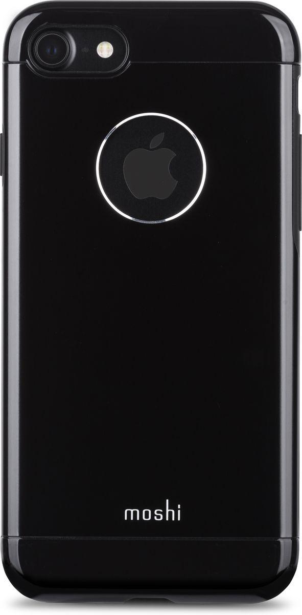 Moshi Armour чехол для iPhone 7, Jet Black99MO088008Элегантный чехол Moshi Armour выполнен из алюминия с алмазной огранкой. Он станет прекрасной защитой для Вашего iPhone 7. Красивый на вид и приятный на ощупь, он только подчеркнет все достоинства и преимущества дизайна iPhone. Завышенные края чехла обеспечивают безопасность экрана, когда iPhone лежит дисплеем вниз. Чехол повторяет все линии iPhone 7 в своей особой манере, при этом защищая заднюю часть корпуса и его боковые грани.Алюминий премиум класса с алмазной обработкой.Основной каркас чехла состоит из поликарбоната, который защищает находящийся внутри телефон от ударов и повреждений.Полная защита кнопок регулировки громкости и питания.Завышенные края чехла обеспечивают безопасность экрана, когда iPhone лежит дисплеем вниз.??????Обеспечивает защиту от падения согласно оборонным стандартам США (MIL-STD-810G, SGS-certified).