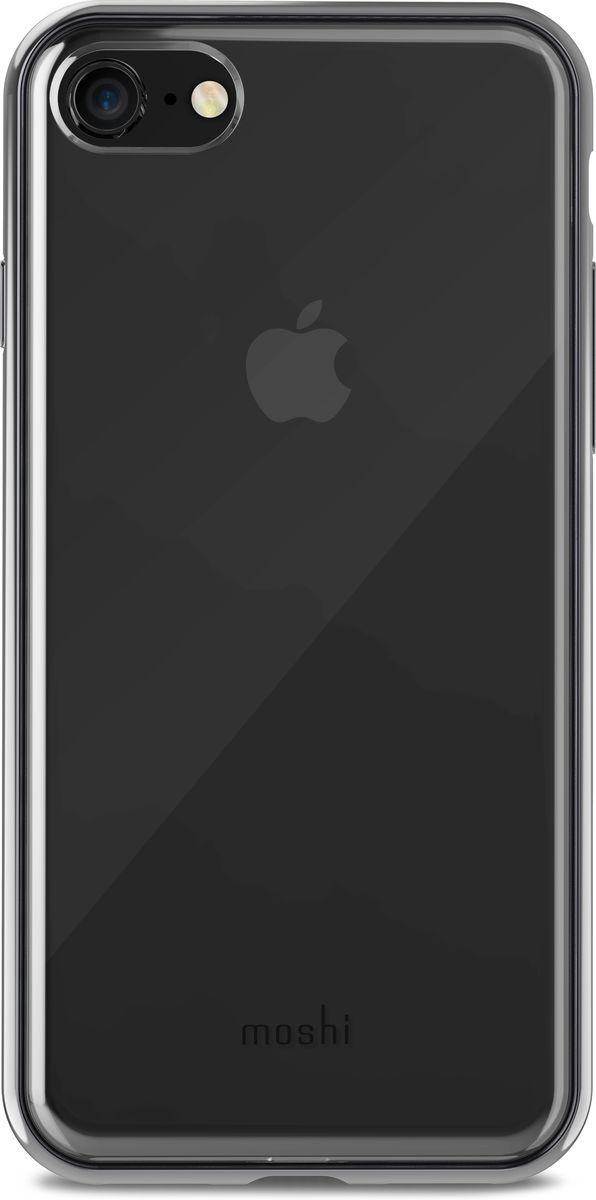 Moshi Vitros чехол для iPhone 8/7, Clear Black99MO103032Moshi Vitros это тонкий ударопрочный прозрачный чехол в минималистском стиле. Амортизирующая рамка чехла создана с использованием запатентованного процесса испарения металлов, для создания глянцевой поверхности, которая является одновременно стильной и защитной. Стильный Vitros защищает ваш iPhone от царапин и ударов, а также поддерживает беспроводную зарядку вашего устройства. Созданный из полимера, этот чехол прошел тестирования на сопротивление истиранию, нагреву и изгибу, таким образом, ваш чехол сохранит свой блеск на протяжении долгого времени. Приподнятые края защищают экран iPhone, когда он лежит экраном вниз, а также сохранен свободный доступ ко всем кнопкам, портам и камере.