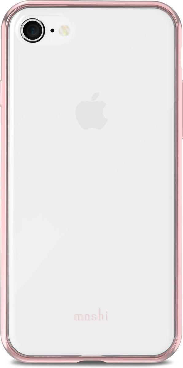 Moshi Vitros чехол для iPhone 8/7, Clear Pink99MO103252Moshi Vitros это тонкий ударопрочный прозрачный чехол в минималистском стиле. Амортизирующая рамка чехла создана с использованием запатентованного процесса испарения металлов, для создания глянцевой поверхности, которая является одновременно стильной и защитной. Стильный Vitros защищает ваш iPhone от царапин и ударов, а также поддерживает беспроводную зарядку вашего устройства. Созданный из полимера, этот чехол прошел тестирования на сопротивление истиранию, нагреву и изгибу, таким образом, ваш чехол сохранит свой блеск на протяжении долгого времени. Приподнятые края защищают экран iPhone, когда он лежит экраном вниз, а также сохранен свободный доступ ко всем кнопкам, портам и камере.