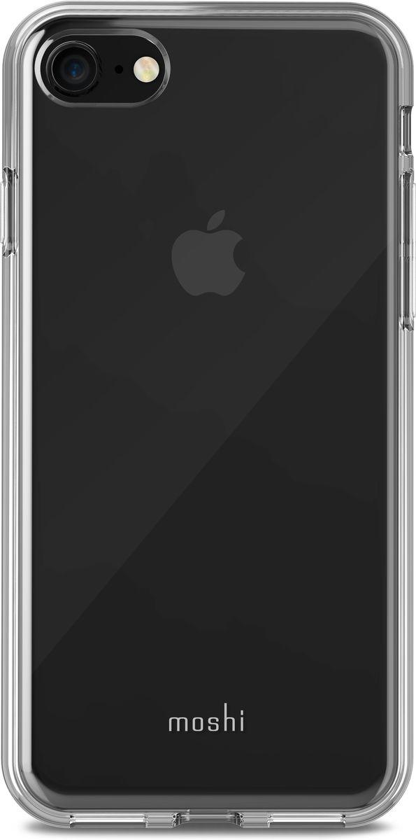 Moshi Vitros чехол для iPhone 8/7, Clear99MO103902Moshi Vitros это тонкий ударопрочный прозрачный чехол в минималистском стиле. Амортизирующая рамка чехла создана с использованием запатентованного процесса испарения металлов, для создания глянцевой поверхности, которая является одновременно стильной и защитной. Стильный Vitros защищает ваш iPhone от царапин и ударов, а также поддерживает беспроводную зарядку вашего устройства. Созданный из полимера, этот чехол прошел тестирования на сопротивление истиранию, нагреву и изгибу, таким образом, ваш чехол сохранит свой блеск на протяжении долгого времени. Приподнятые края защищают экран iPhone, когда он лежит экраном вниз, а также сохранен свободный доступ ко всем кнопкам, портам и камере.