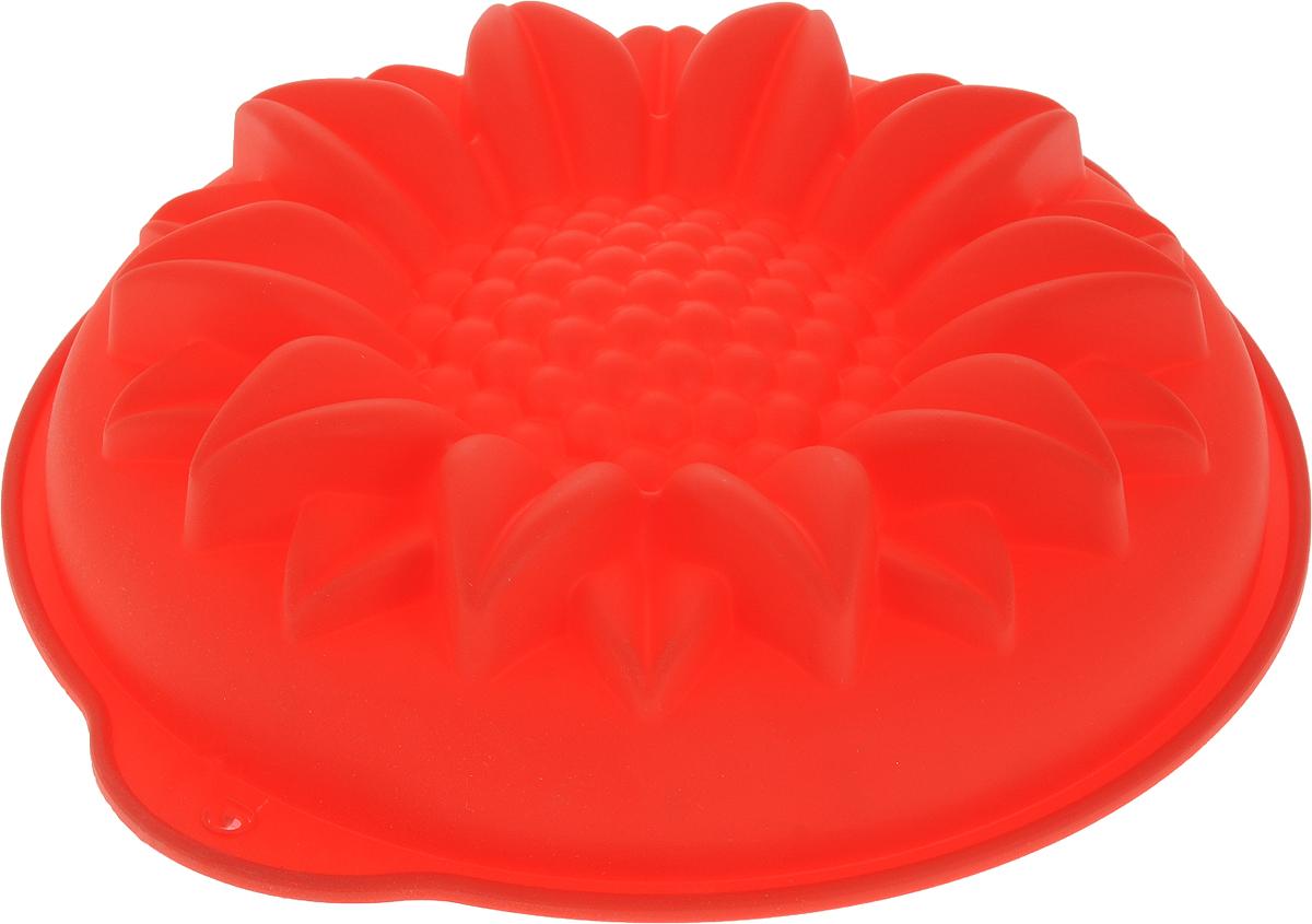Форма для выпечки Доляна Подсолнух, цвет: красный, 29 х 6 см