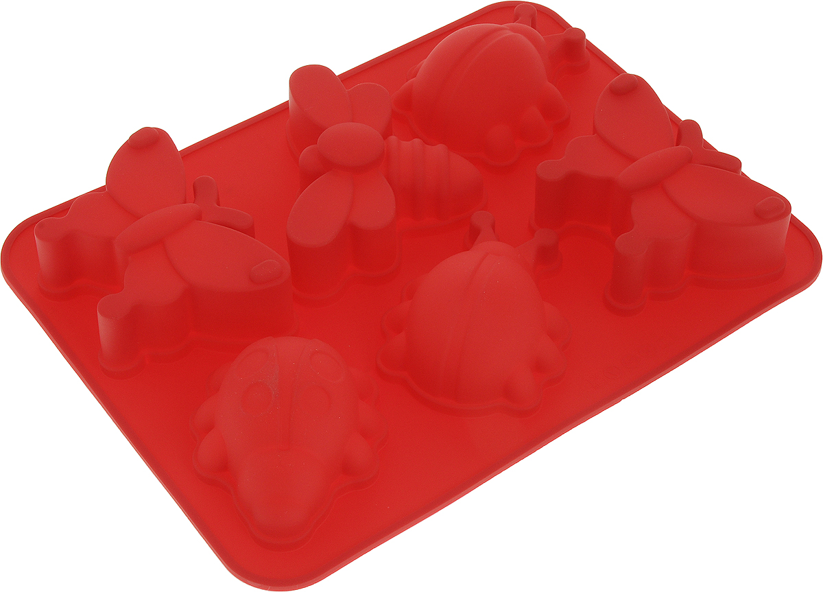 Форма для выпечки Доляна Насекомые, цвет: красный, 27,5 х 20 х 4,5 см, 6 ячеек1057137-красныйФорма для выпечки из силикона - современное решение для практичных ирадушных хозяек. Оригинальный предмет позволяет готовить в духовкелюбимые блюда из мяса, рыбы, птицы и овощей, а также вкуснейшую выпечку. Особенности: блюдо сохраняет нужную форму и легко отделяется от стенок послеприготовления; высокая термостойкость (от -40 до +250°С) позволяет применять форму вдуховых шкафах и морозильных камерах; небольшая масса делает эксплуатацию предмета простой даже для хрупкойженщины; силикон пригоден для посудомоечных машин; высокопрочный материал делает форму долговечным инструментом; при хранении предмет занимает мало места. Советы по использованию формы: Перед первым применением промойте предмет тёплой водой. В процессе приготовления используйте кухонный инструмент из дерева,пластика или силикона. Перед извлечением блюда из силиконовой формы дайте ему немного остыть,осторожно отогните края предмета.