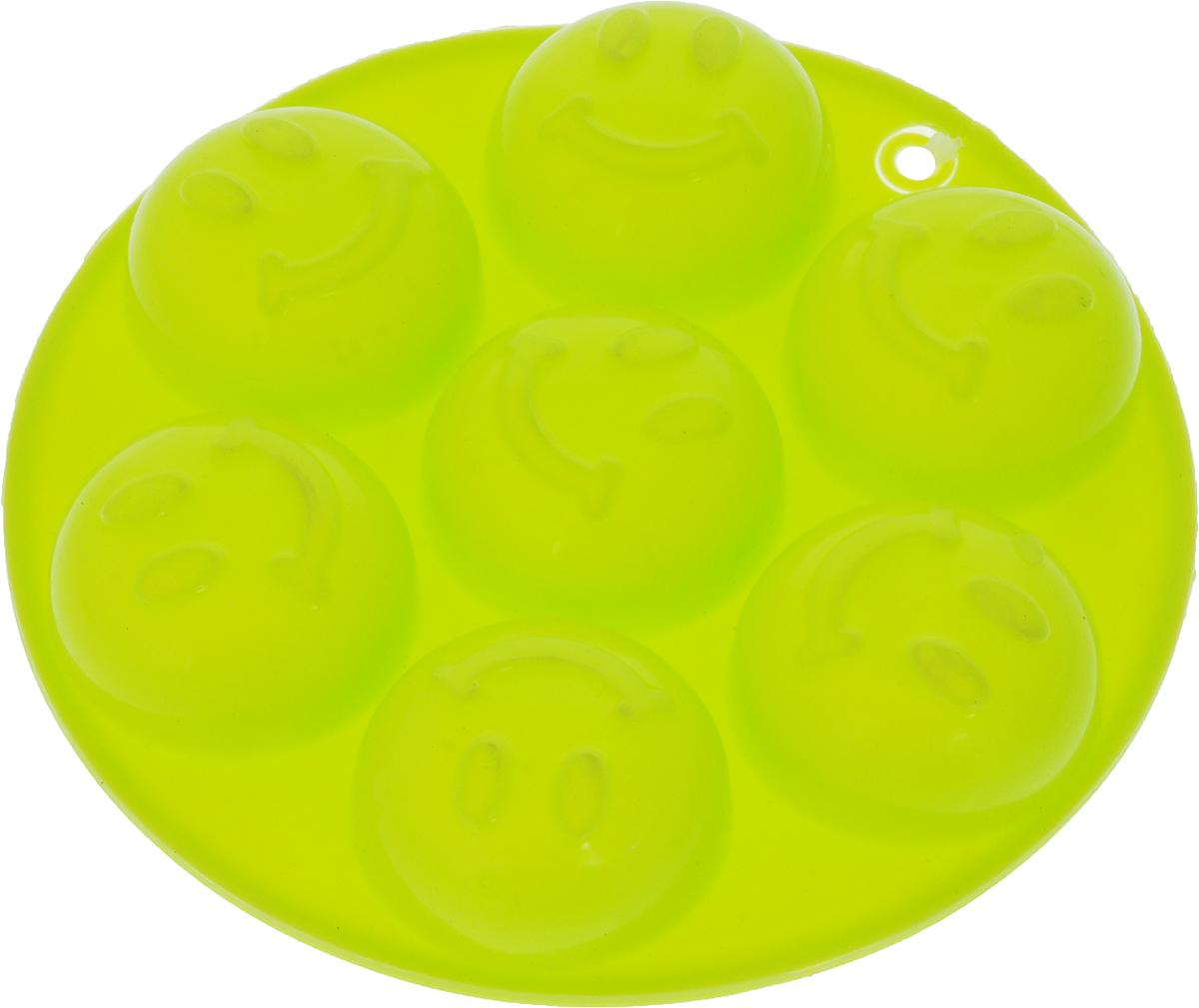 """Форма для льда и шоколада """"Доляна"""", 7 ячеек, цвет: салатовый, диаметр 13,5 см"""