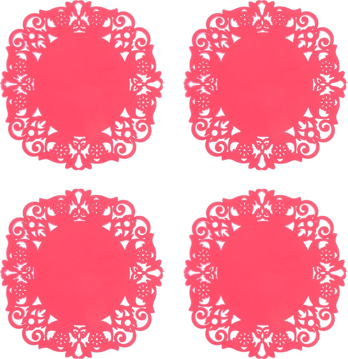 Набор подставок под горячее Доляна Чаепитие, цвет: малиновый, диаметр 10 см, 4 шт812066_малиновыйНабор Доляна Чаепитие состоит из 4 силиконовых подставок под горячее. Силиконовая подставка под горячее - практичный предмет, который обязательно пригодится в хозяйстве. Изделие поможет сберечь столы, тумбы, скатерти и клеёнки от повреждения нагретыми кружками с горячим напитком, чайниками и тарелками.