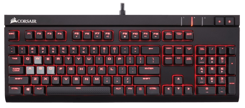 Corsair Gaming Strafe Cherry MX Red игровая клавиатура клавиатура corsair gaming k70 rapidfire cherry mx speed black usb [ch 9101024 ru]