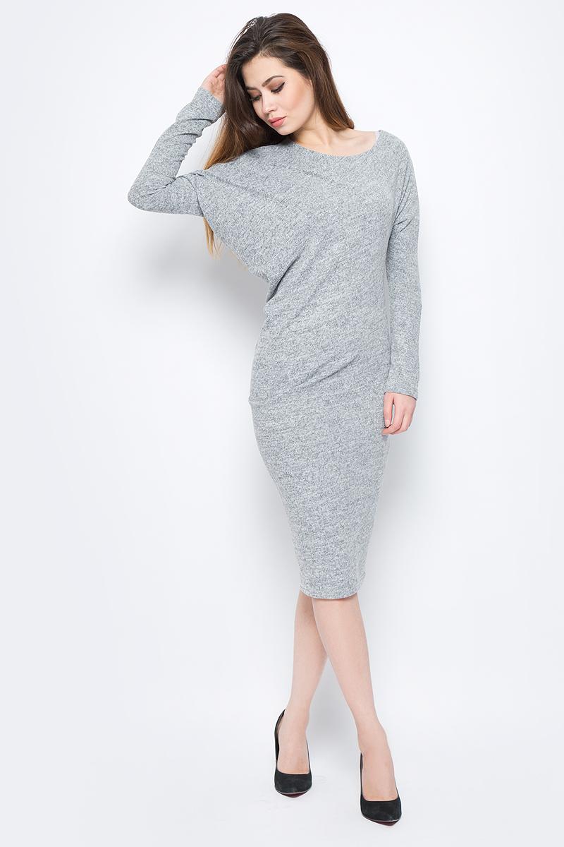 Платье La Via Estelar, цвет: серый. 13129-3. Размер 4413129-3Стильное платье, выполненное из комбинированного материала, отлично дополнит ваш гардероб. Модель длины-миди с длинными рукавами-кимоно и круглым вырезом горловины.