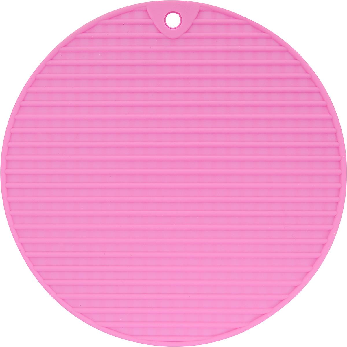 Подставка под горячее Доляна Круг, цвет: розовый, 18 см762761_розовыйСиликоновая подставка под горячее Доляна Круг - практичный предмет, который обязательно пригодится в хозяйстве. Изделие поможет сберечь столы, тумбы, скатерти и кленки от повреждения нагретыми сковородами, кастрюлями, чайниками и тарелками.