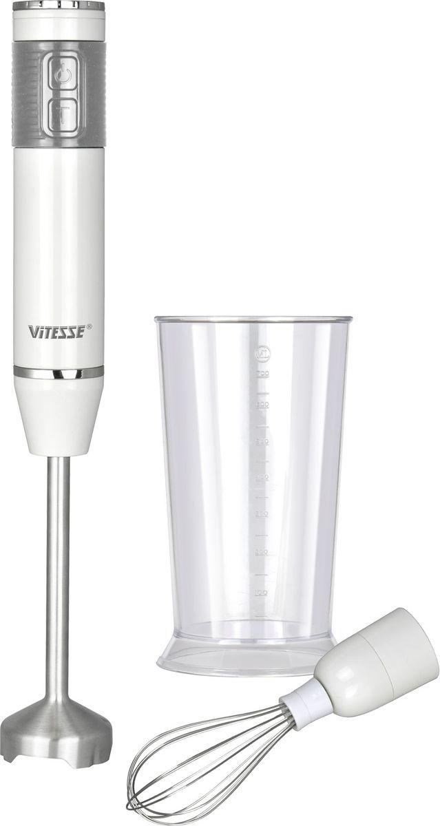 Vitesse VS-228 блендерVS-228Мощность 400 ВтМатериал корпуса - пластикМатериал ножей - высококачественная нержавеющая стальМатериал емкости - пластик2 режима мощности для работы с разными продуктами (импульсный режим )Тихий мощный моторПетля для подвешиванияКомплектация:Насадка- блендерНасадка-венчикМерная чаша (700 мл)