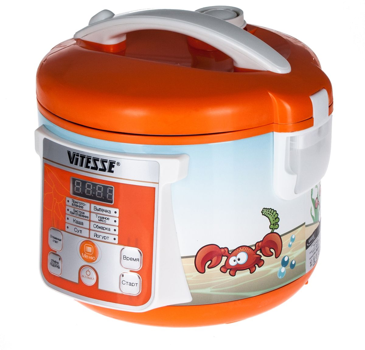 Vitesse VS-585 мультиваркаVS-585ПОДАРОК! Набор детской посуды (тарелка, ложечка, вилочка) - меняет цвет при нагревании 8 АВТОМАТИЧЕСКИХ ПРОГРАММ ПРИГОТОВЛЕНИЯ: Суп, Каша, Приготовление, Быстрое приготовление, Йогурт, Обжарка, выпечка и Тушеное мясоМощность: 500 ВтОбъем чаши: 3 лТип управления: электронныйВнутренняя чаша с антипригарным покрытиемМатериал корпуса - металлLED-дисплейФункция отсрочки старта (24 часа)Режим поддержания тепла готовых блюдАвтоматическое отключение в случае перегреваВ комплекте: контейнер-пароварка, ложка, половник, силиконовая лопатка, мерный стакан. Книга рецептов в подарок