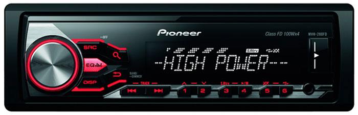 Pioneer MVH-280FD, Black автомагнитола340068Автомагнитола Pioneer MVH-280FD 1DIN 4x100Вт