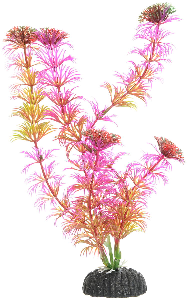 Искусственное растение для аквариума Dezzie, цвет: сиреневый, красный,зеленый, 20 см. 5602026 растение для аквариума barbus амбулия пластиковое высота 20 см