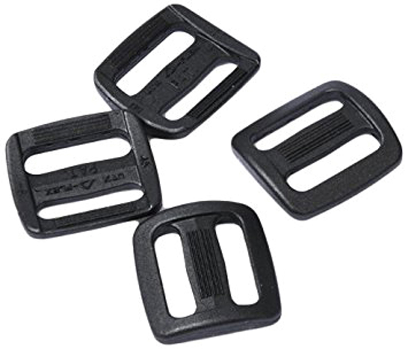 """Набор пряжек AceCamp """"Duraflex Triglide"""", двухщелевые, цвет: черный,20 мм, 4шт"""