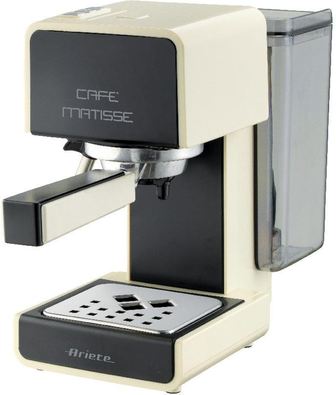 Ariete 1363/12 Cafe Matisse, Beige кофеварка эспрессо1363/12Ariete 1363 Matisse – стильная и компактная рожковая кофеварка мощностью 900 Вт. Предусмотрено полуавтоматическое приготовление эспрессо. Устройство Maxi-Cappuccino.