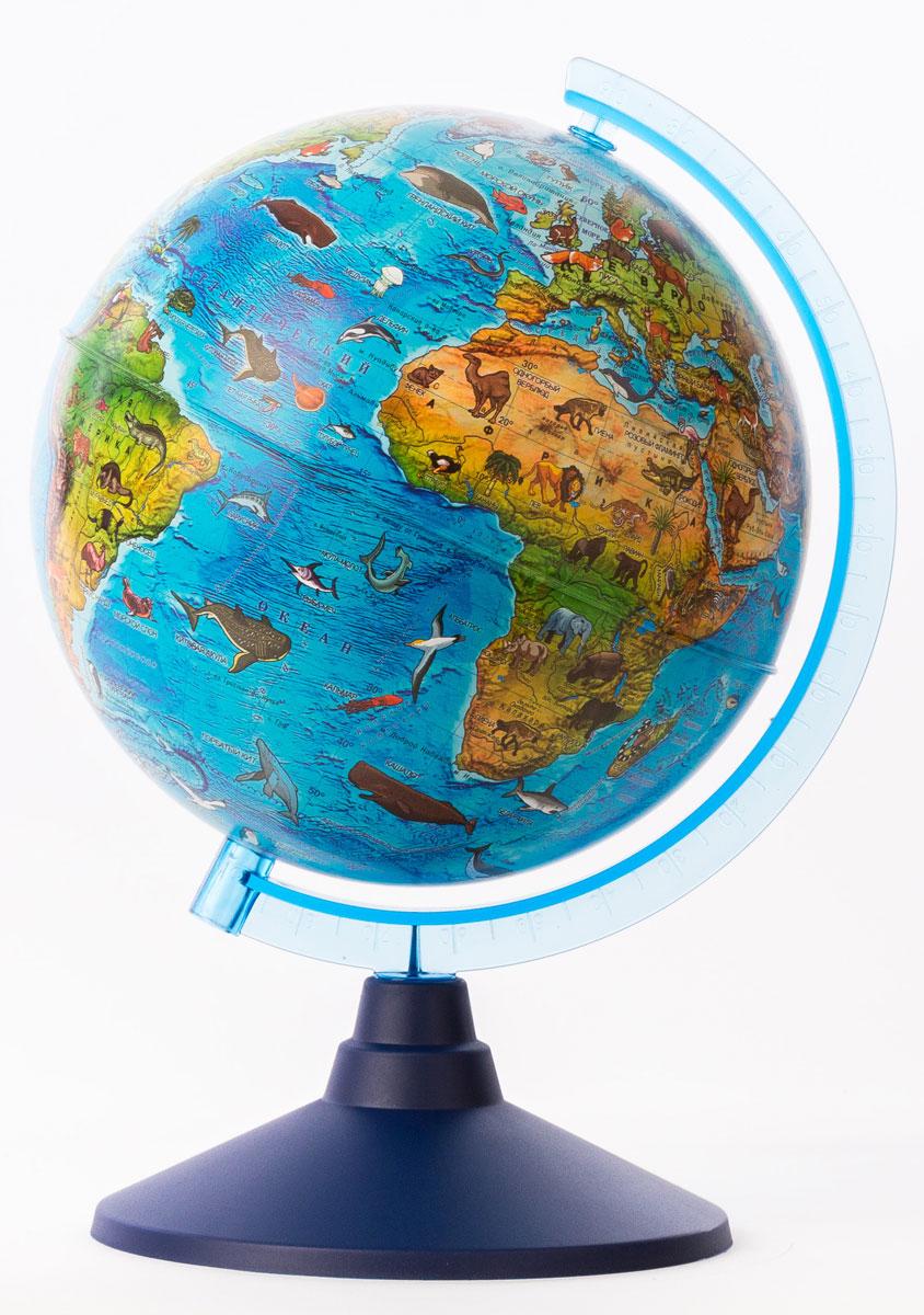 Globen Глобус зоогеографический детский с подсветкой диаметр 21 смВе012100249Глобус от компании Globen будет замечательным подарком вашему ребенку к любому празднику. Глобус является универсальным наглядным пособием и поможет заинтересовать ребенка изучением географии. Карта глобуса подробная и актуальная, на ней можно рассмотреть все страны мира, их взаимное расположения, океаны, моря, горы и другие интересные географические данные. А глобус с подсветкой от батареек послужит необычным ночником в детской комнате. Глобус - это мир в руках ваших детей!Актуальная карта. Крым в составе РФ.Подсветка глобуса осуществляется от двух пальчиковых батареек (Батарейки в комплект не входят).Система подсветки запатентована, права на нее охраняются законом.