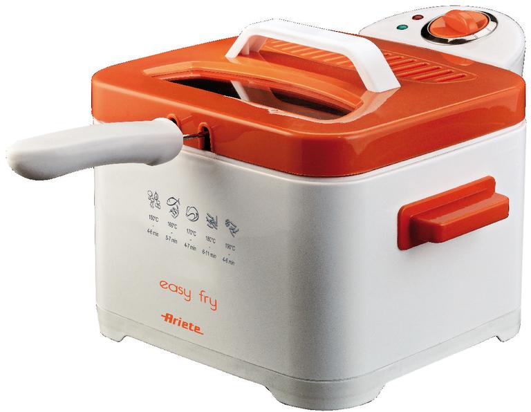 Ariete 4611 Easy Fry, White Orange фритюрница4611Фритюрница Ariete 4611 идеально подходит для приготовления картофеля-фри, креветок в кляре, пончиков и других блюд во фритюре. Красивый и компактный прибор будет гармонично смотреться на любой кухне. Фритюрница оснащена воздушным фильтром, который предотвращает распространение запаха в процессе жарки.