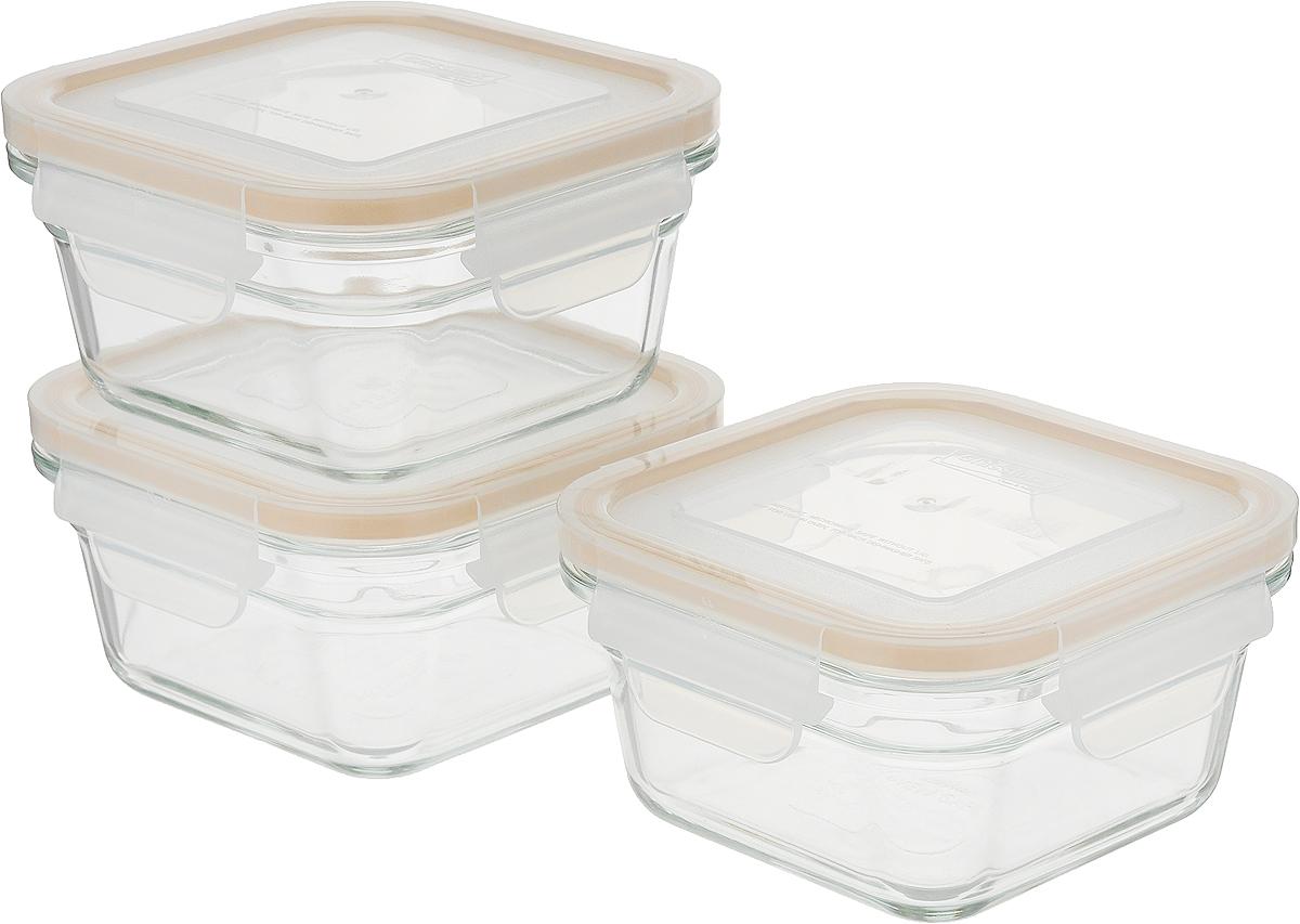 Набор стеклянных контейнеров для хранения с герметичной крышкой с  креплениями Glasslock. В наборе 3 контейнера объёмом 405 мл. 100%  герметичность и защита продукта от влаги, посторонних запахов, плесени,  насекомых. Пластиковая крышка с фиксаторами. Можно использовать в  духовке, СВЧ-печах, холодильниках, посудомоечных машинах, морозильных  камерах. Легко чистится.