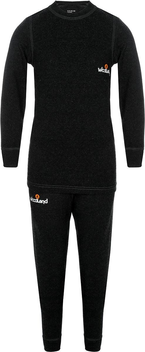 Комплект термобелья детский Woodland Soft Thermo EKO: кофта, брюки, цвет: графит. 0063525. Размер 28, рост 104-110Soft Thermo EKO_детскоеКомплект термобелья Woodland, состоящий из кофты и брюк, идеально подойдет в холодную погоду. Изготовленный из вискозы с добавлением полиэстера и лайкры, он мягкий и приятный на ощупь, отлично отводит влагу и обеспечивает хорошую терморегуляцию, защищая как от перегрева, так и от охлаждения. Уникальная технология шитья без внутренних швов обеспечит прекрасное теплосбережение и комфорт при длительном ношении. Кофта с длинными рукавами-реглан и низким воротником-стойкой оформлена контрастной прострочкой и на груди логотипом бренда. Брюки имеют на поясе широкую эластичную резинку. Модель также оформлена контрастной прострочкой и логотипом бренда. Показатели температуры использования: при низкой физической активности до -15°C; при высокой физической активности до -20°C.