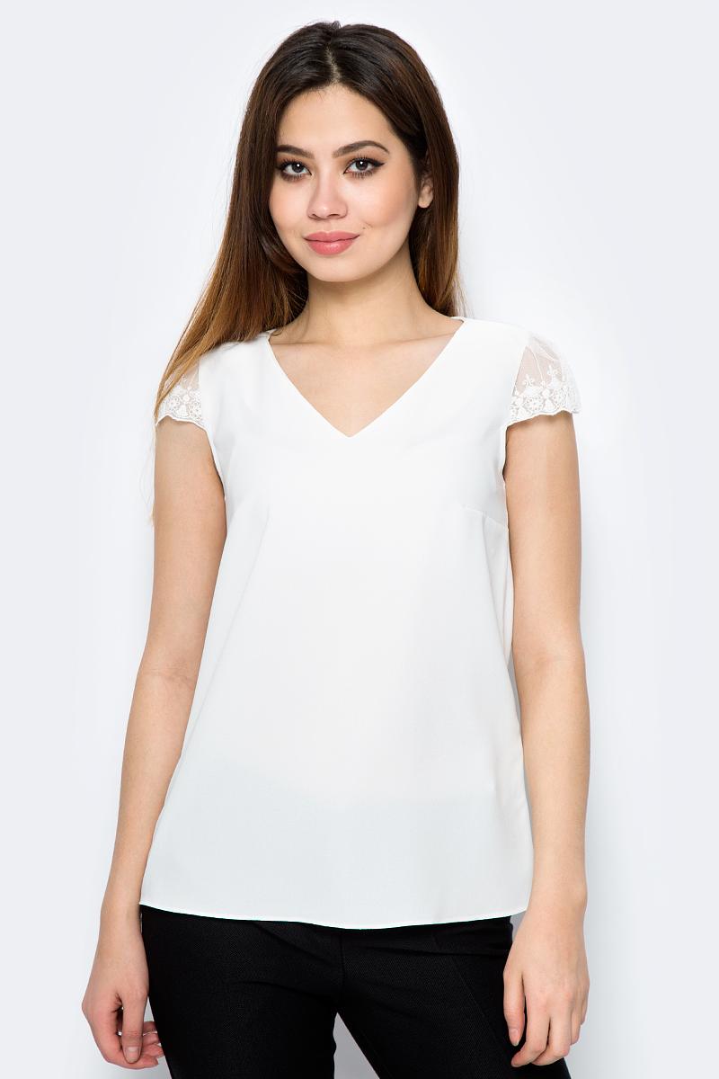 Блузка женская adL, цвет: кремовый. 11529625003_019. Размер L (46/48)11529625003_019Стильная блузка от adL выполнена из высококачественного материала. Модель с короткими кружевными рукавами сзади застегивается на пуговицу.