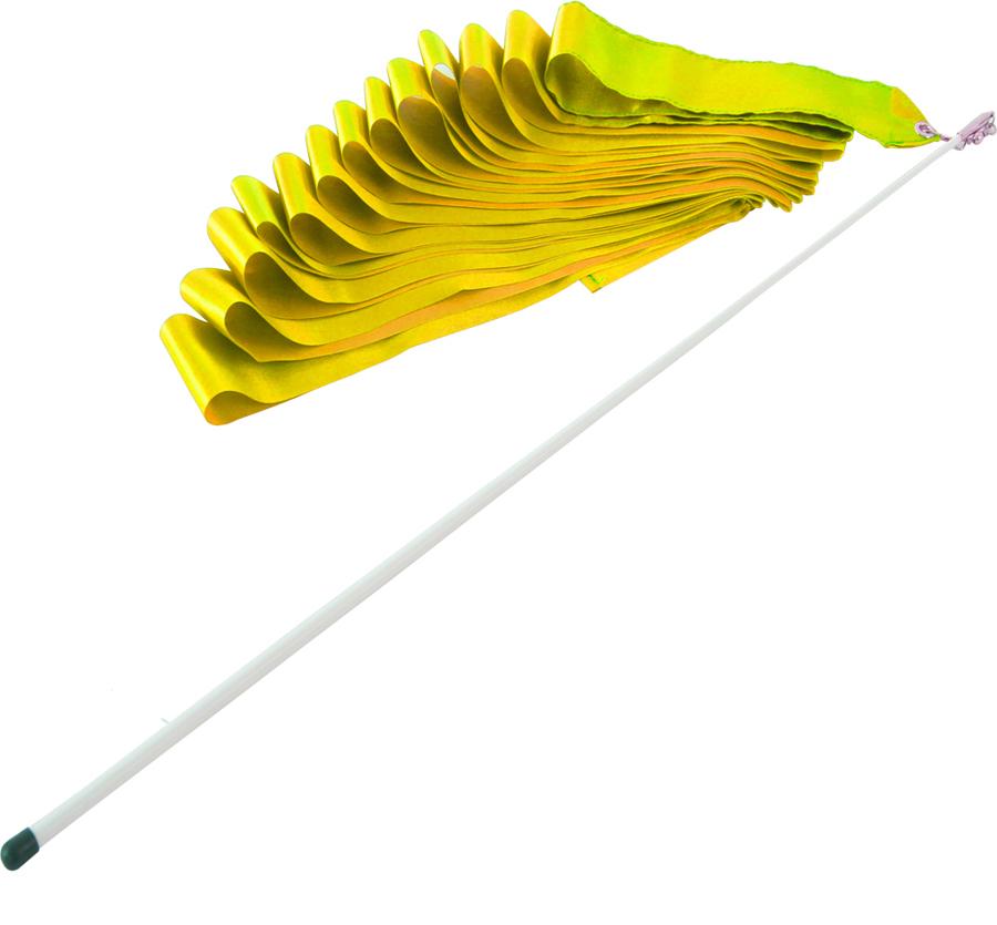Лента гимнастическая  Larsen , цвет: желтый, длина 6 м - Художественная гимнастика