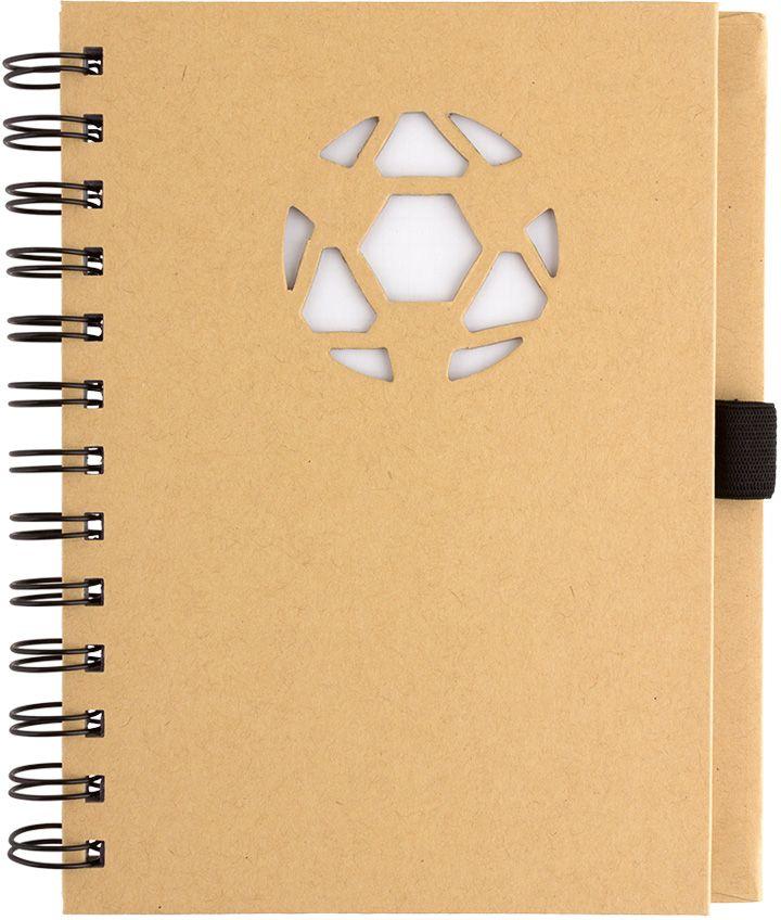 Fiteko Тетрадь Мяч футбольный 70 листов в клетку цвет светло-коричневый RPT-02RPT-02Листы разлинованные в клетку - офсетная бумага плотностью 70 г/см2. Подложка - переработанная крафт-бумага плотностью 120 г/см2, обложка - переработанная крафт-бумага плотностью 700 г/см2. Данная продукция сделана из переработанных материалов. Эко-канцелярия TM Fiteko может служить основой для декорирования в технике Декупаж. В связи с борьбой мирового сообщества за сохранение чистоты экологии на нашей планете, направление эко-канцелярии востребовано и широко развивается во всем мире. TM Fiteko - сохраняя планету!Преимущества эко-канцелярии TM Fiteko:- экологически-чистые материалы;- использование крафт-бумаги [высокопрочной бумаги из слабопроваренной, длинноволокнистой целлюлозы];- стильные дизайны;- просчитанная эргономика.Вид крепления: на спирали.Количество листов: 70.Назначение: для записей.Размер: 130 х 180 мм.Техника: Универсальная.Тип товара: Тетрадь.