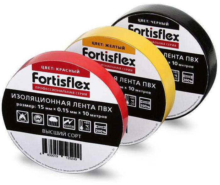 Лента изоляционная Fortisflex, цвет: желтый, 15 мм х 0,15 мм х 10 м71224Изоляционная лента Fortisflex выполнена из ПВХ. Изделие не поддерживает горение. Высокая адгезия ленты к металлу, пластику, резине и стеклу. Устойчива к ультрафиолетовым лучам, абразии, влажности, щелочам и кислотам, а также старению и различным погодным условиям. Не выделяет вредных и отравляющих веществ.Толщина: 150 мкм. Рабочее напряжение: 690В. Температура эксплуатации: до +80°C. Удлинение при растяжении: 200%. Электрическая прочность: 40 кВ/мм.